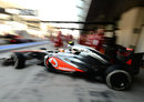 Lewis Hamilton leaves the garage in FP1