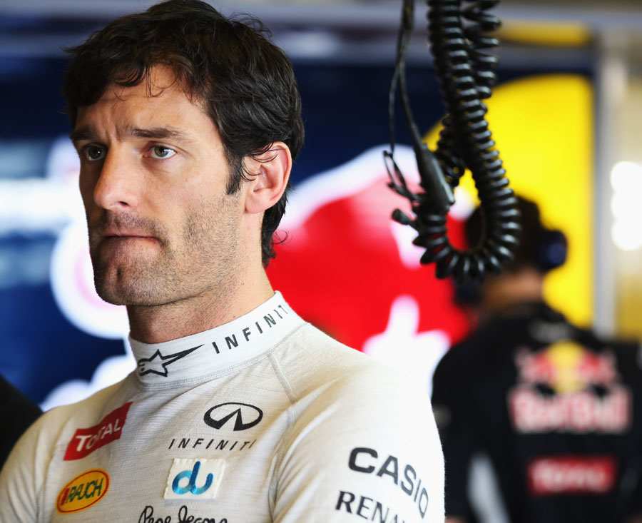 Mark Webber in the Red Bull garage
