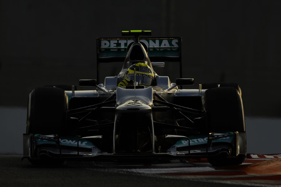 Nico Rosberg clips an apex in the Mercedes