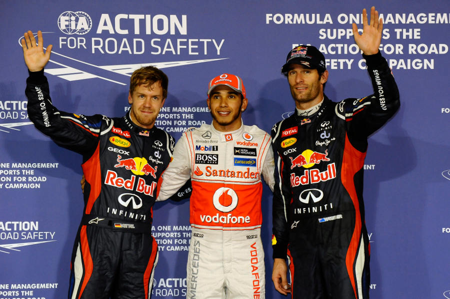 The top three celebrate after qualifying