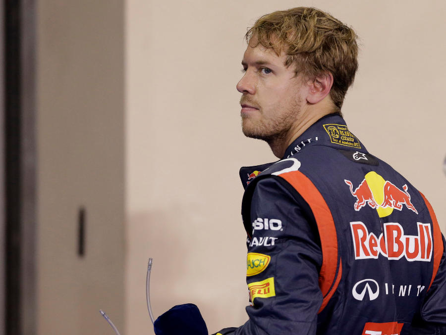 Sebastian Vettel looks concerned in parc ferme at the end of qualifying