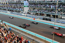 Lewis Hamilton leads away as Mark Webber gets a poor start