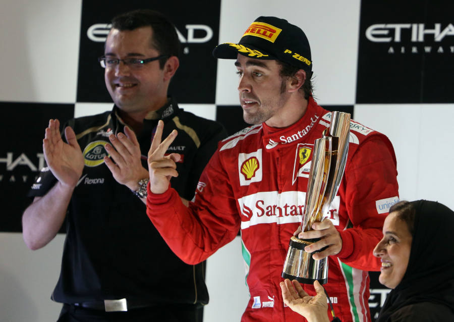 Fernando Alonso celebrates his second place finish