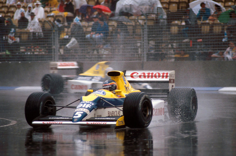 Thierry Boutsen on his way to victory in the rain