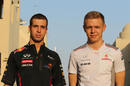 Red Bull's Antonio Felix da Costa and McLaren's Kevin Magnussen in the paddock on Saturday