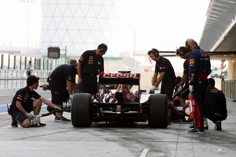 Luiz Razia pits in the Toro Rosso