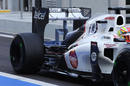 An aero device on the rear wing of the Sauber being driven by Robin Frijns