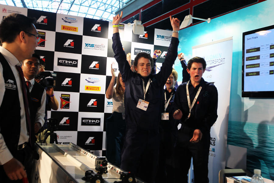 Australian team Cold Fusion celebrate their F1 in Schools victory