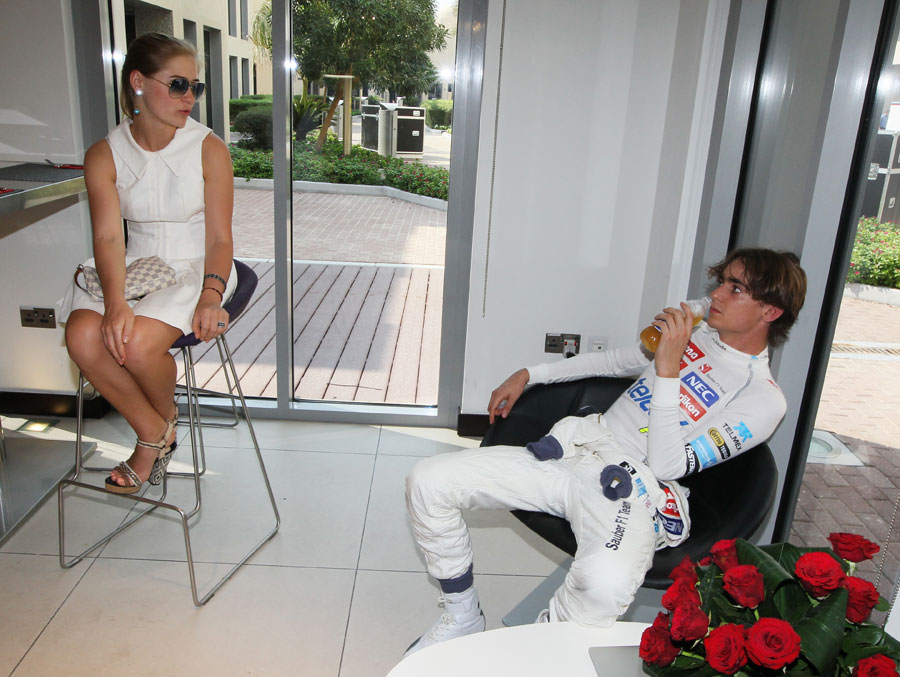 Esteban Gutierrez relaxes after a busy day at the office