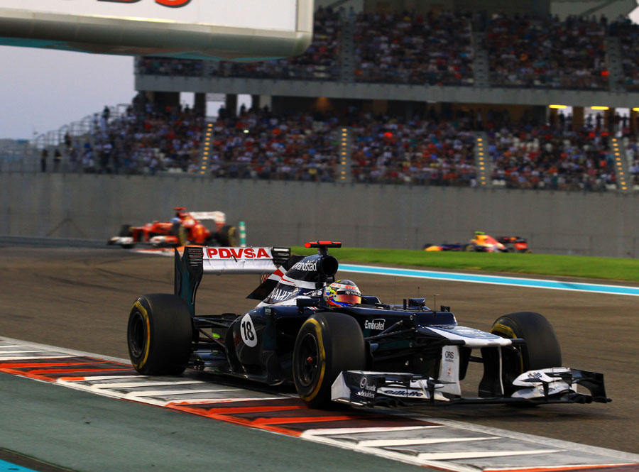 Pastor Maldonado leads Fernando Alonso and Mark Webber