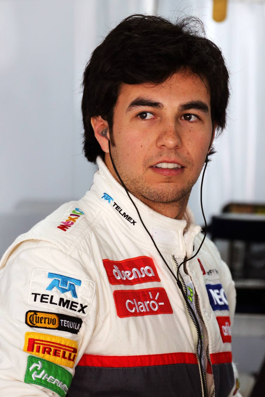 Sergio Perez in the Sauber garage