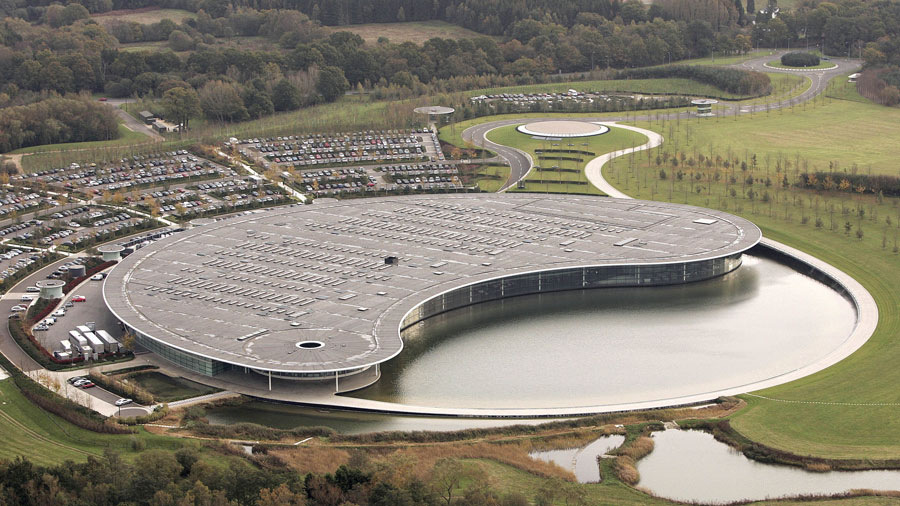 An aerial view of McLaren's headquarters