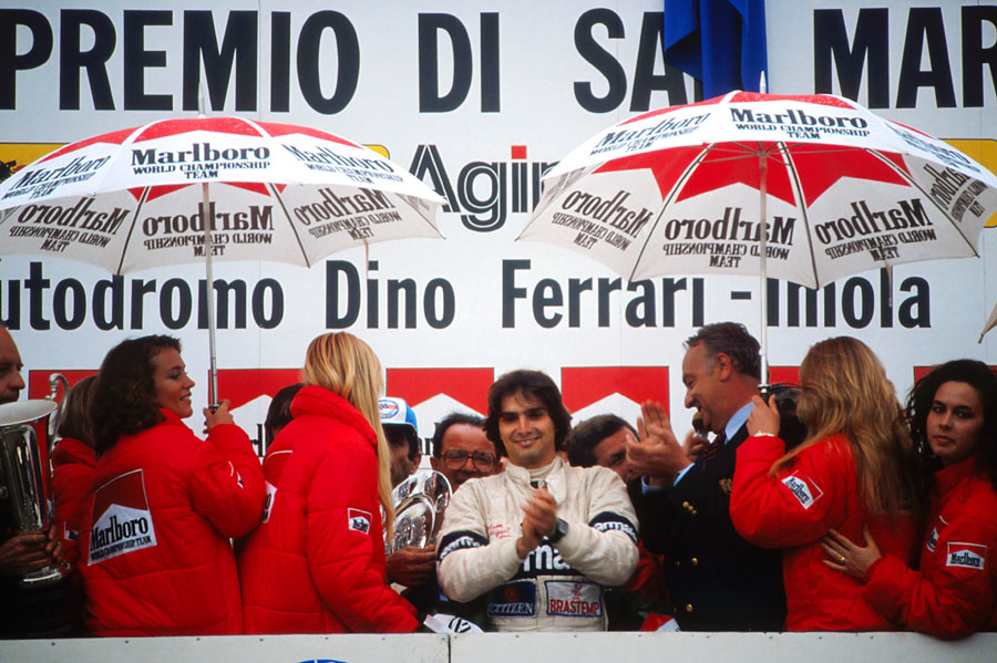 Nelson Piquet celebrates victory at Imola