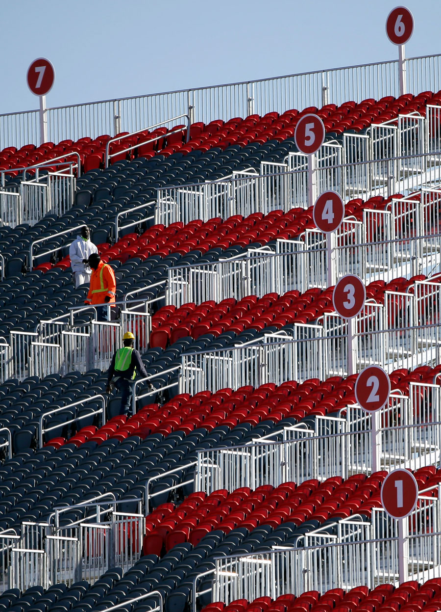 Last-minute work to get the grandstand ready