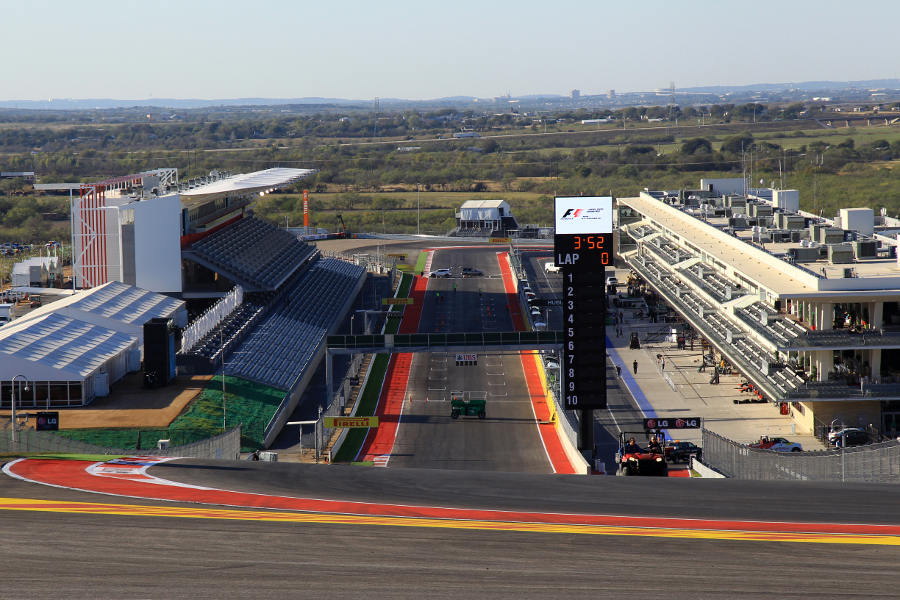 The view back down the start finish straight from turn one