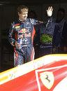 Sebastian Vettel celebrates his pole position