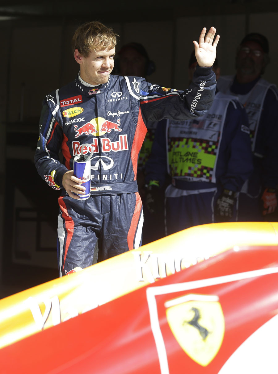 Sebastian Vettel celebrates his pole position
