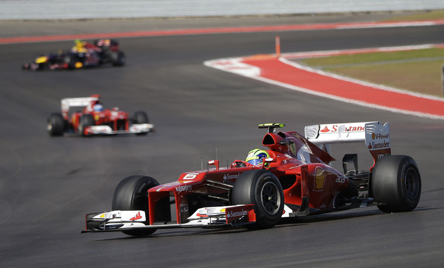 Felipe Massa ahead of team-mate Fernando Alonso