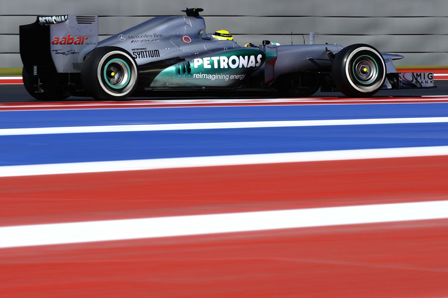 Nico Rosberg on track with an old exhaust configuration fitted to his Mercedes for qualifying
