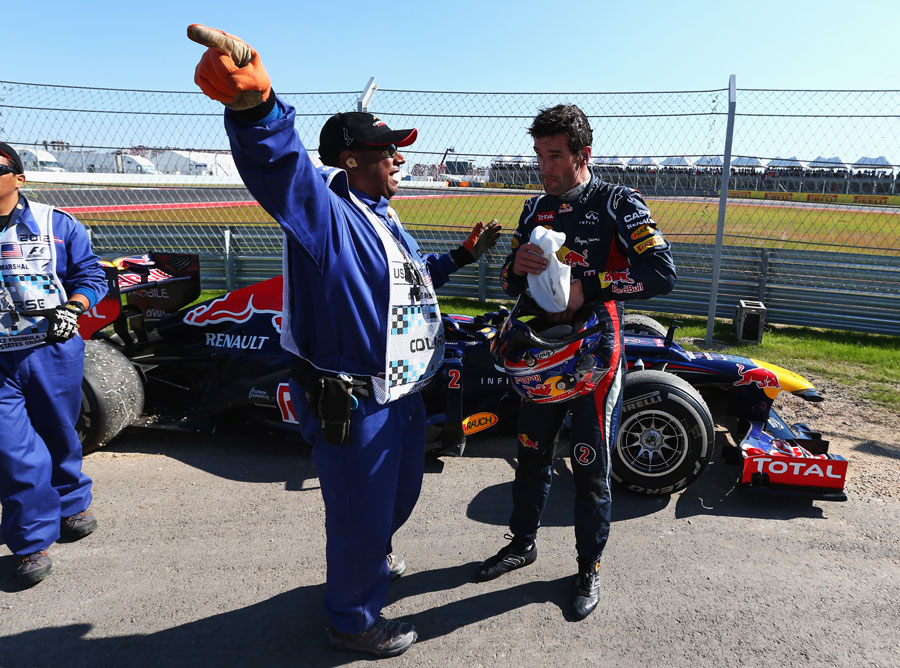 Mark Webber is shown the way home after his retirement