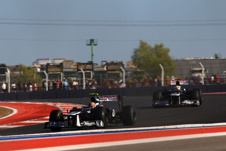 Bruno Senna leads Pastor Maldonado through the opening sector