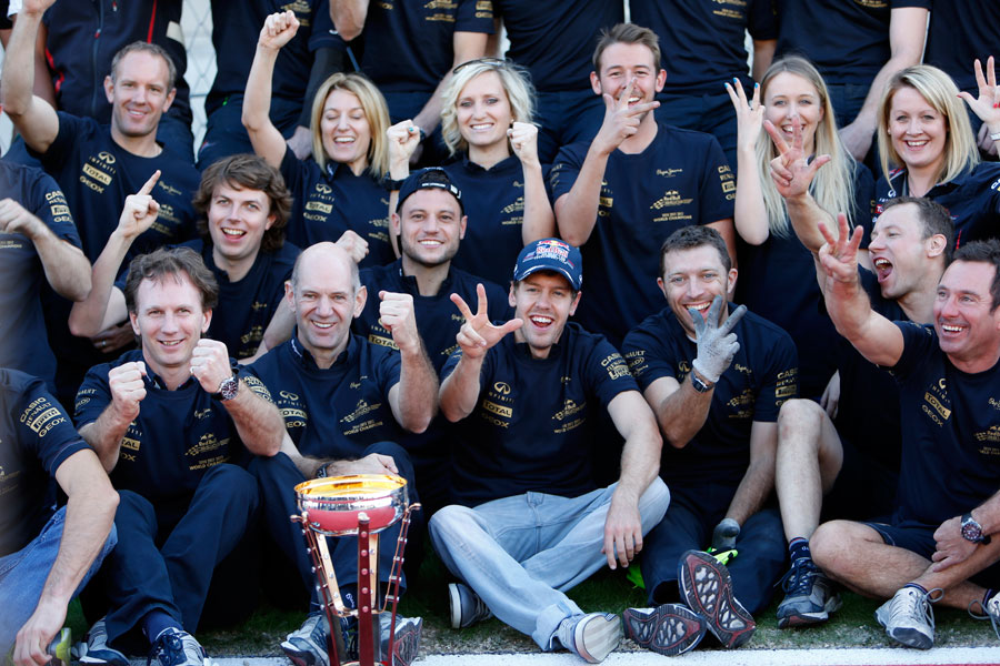 The Red Bull team celebrate a third consecutive constructors' title