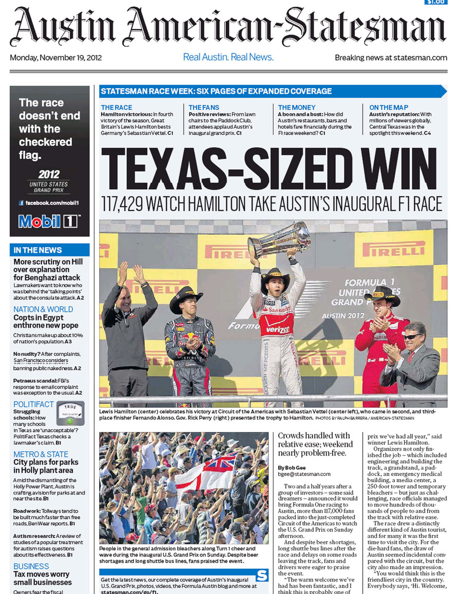 The <I>Austin American Statesman</I> goes big on Formula One