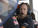 A concerned looking Christian Horner on the Red Bull pit wall