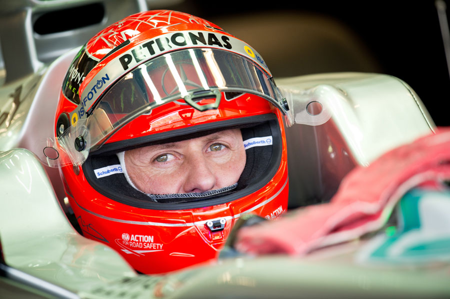 Michael Schumacher focuses in the cockpit of his Mercedes