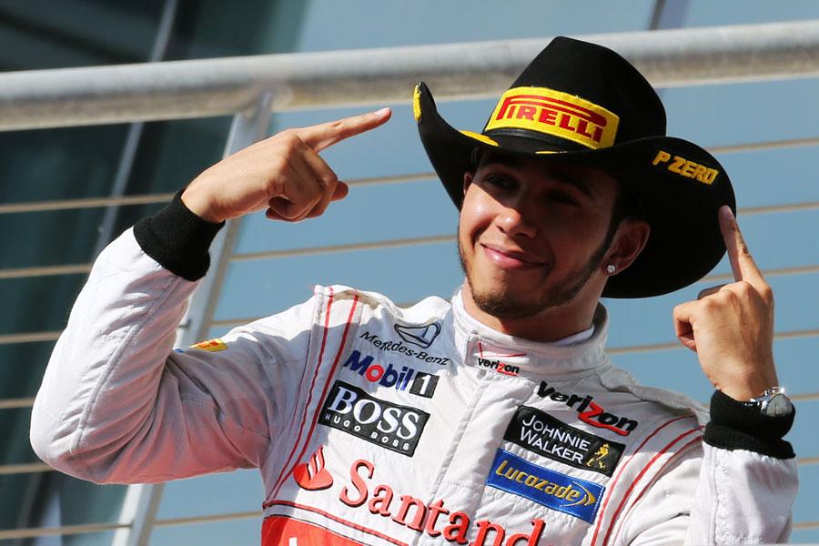Lewis Hamilton celebrates victory