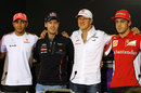 Lewis Hamilton, Sebastian Vettel, Michael Schumacher and Fernando Alonso after the final driver press conference of the season