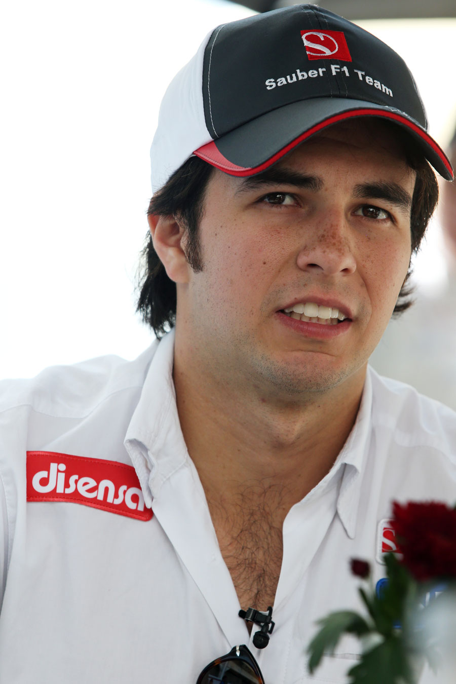 Sergio Perez faces questions from the press