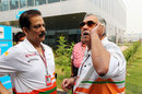 Subrata Roy Sahara and Vijay Mallya chat in the paddock