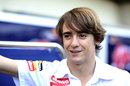 Esteban Gutierrez relaxes in the paddock on Thursday