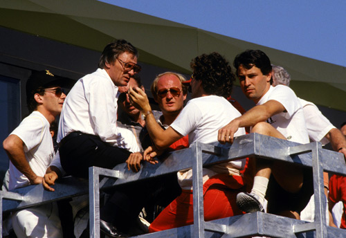 Alain Prost in discussion with Bernie Ecclestone