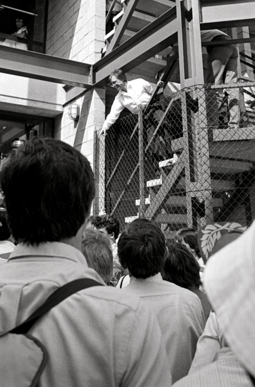 FOCA supremo Bernie Ecclestone talks to the assembled media