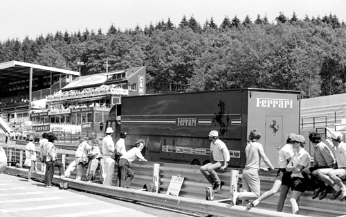 The Ferrari truck heads home from the cancelled race