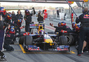 Red Bull practice a pit stop