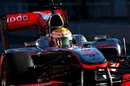 Lewis Hamilton takes to the track in the McLaren