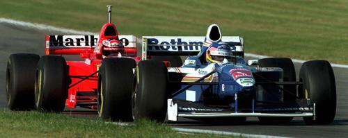 Michael Schumacher gets up close and personal to Jacques Villeneuve