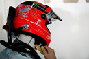 Michael Schumacher sporting a thank you message on his helmet for his final grand prix