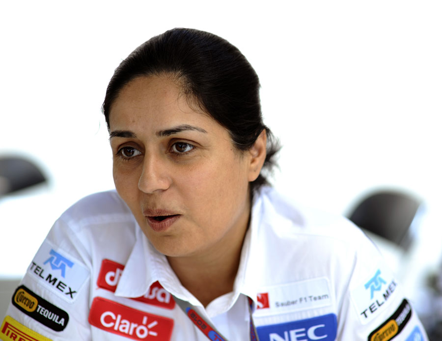 Monisha Kaltenborn talks to the media