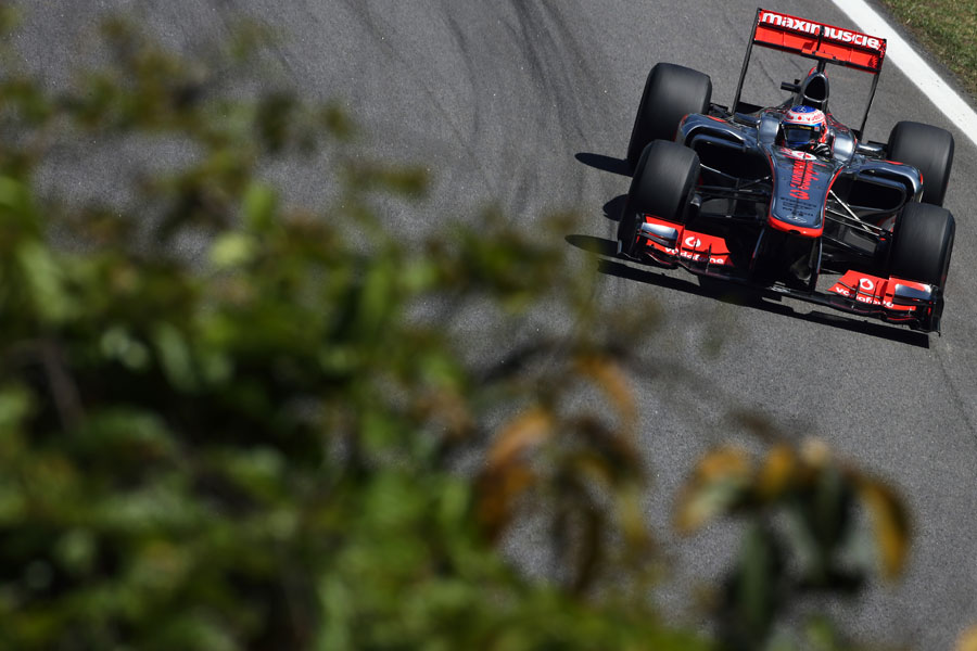 Jenson Button aims for an apex in the middle sector