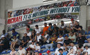 A Michael Schumacher banner in the grandstand on Saturday