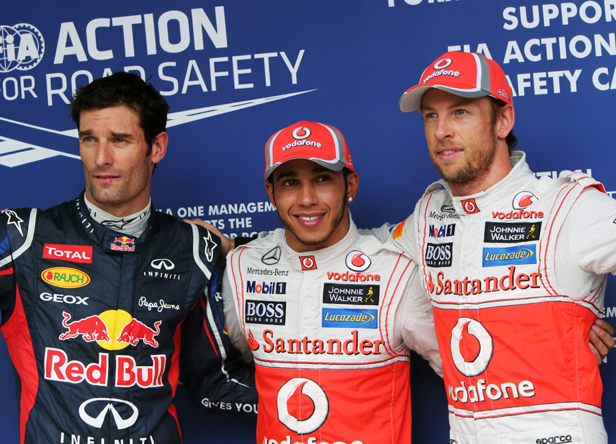 The top three pose for photographs in parc ferme