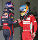 Fernando Alonso congratulates Mark Webber after qualifying