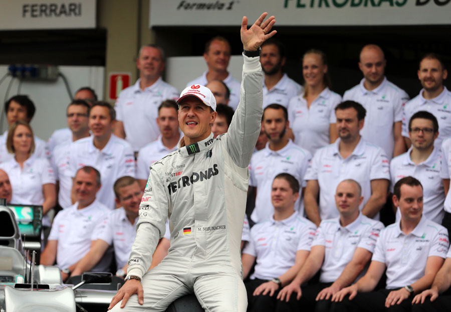 Thanks and goodbye ... Michael Schumacher waves to fans before his final race
