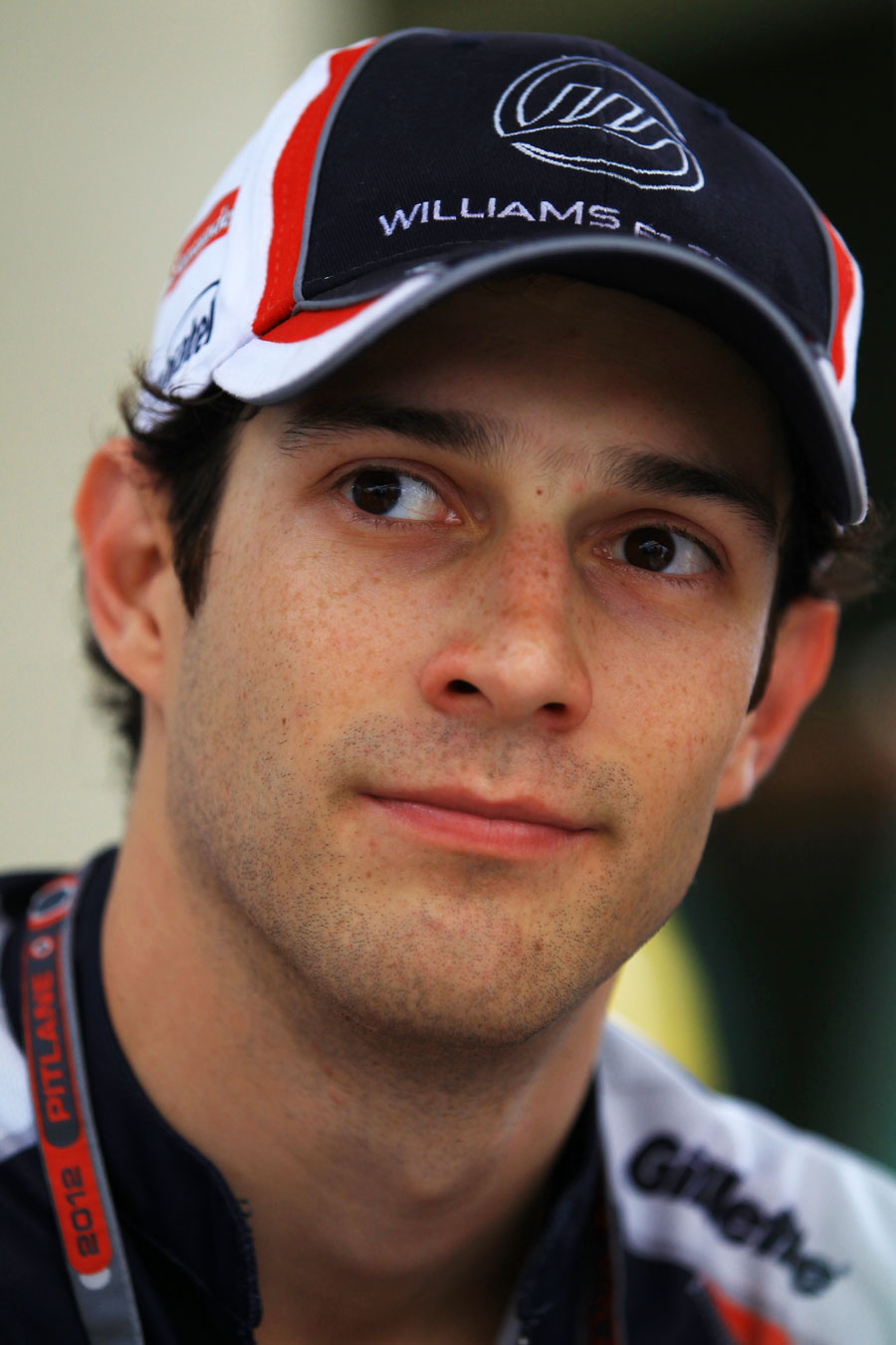 Bruno Senna talks to the press after qualifying