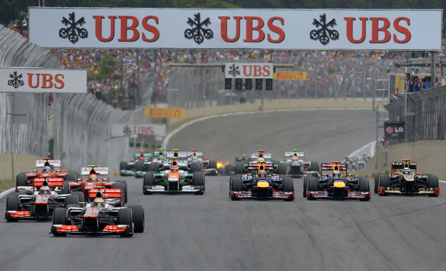 Lewis Hamilton leads off the line