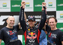 Sebastian Vettel celebrates his third world title with Adrian Newey and Christian Horner